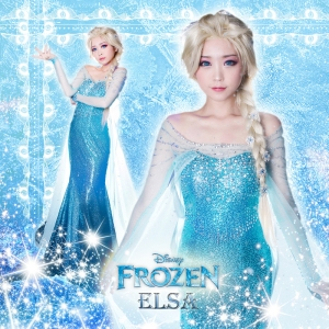 Free-shipping-Exclusive-Frozen-Ice-Queen-Elsa-cosplay-costume