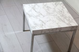 A DIY table by using marble contact paper