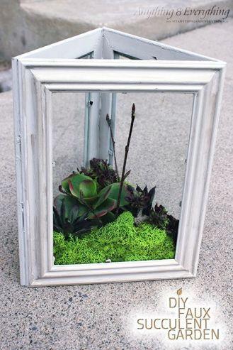 A terrarium made from dollar store frames
