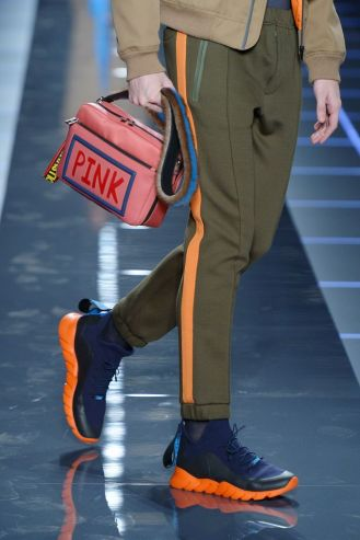 Mandatory Credit: Photo by Davide Maestri/WWD/REX/Shutterstock (7870150bx) Bag detailBag and shoe detail Fendi show, Runway, Autumn Winter 2017, Milan Fashion Week Men's, Italy - 16 Jan 2017