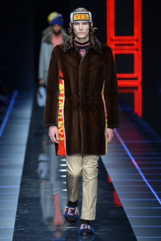 Mandatory Credit: Photo by Davide Maestri/WWD/REX/Shutterstock (7870150i) Model on the catwalk Fendi show, Runway, Autumn Winter 2017, Milan Fashion Week Men's, Italy - 16 Jan 2017